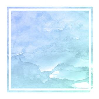 Mão azul frio desenhado em aquarela moldura retangular textura de fundo com manchas