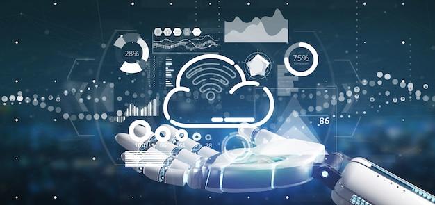 Mão ciborgue segurando o conceito de nuvem e wifi com renderização ícone, estatísticas e dados 3d