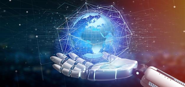 Mão ciborgue, segurando, um, conectado, rede, sobre, um, globo terra