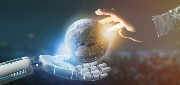 Mão ciborgue, segurando, um, terra, globle, partículas, 3d, fazendo