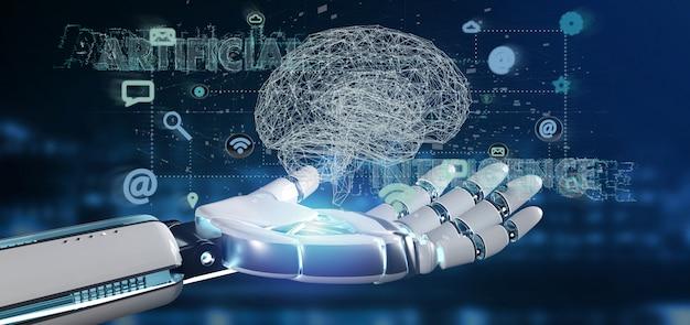 Mão ciborgue segurando uma inteligência artificial concpt com um cérebro e app