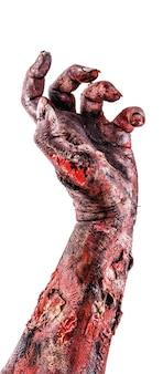 Mão coberta de sangue, mão de zumbi ou morto-vivo, saindo do solo em uma superfície branca isolada, mão de haloween.