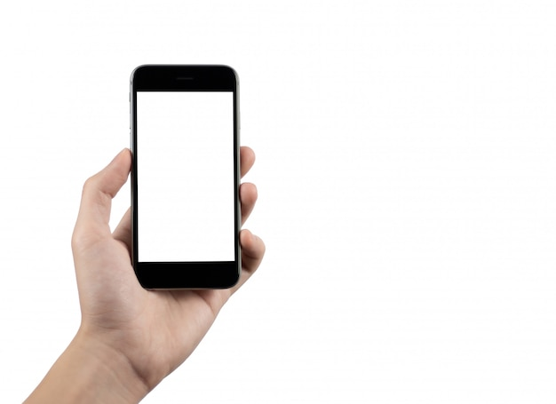 Mão colhida segurando o telefone móvel