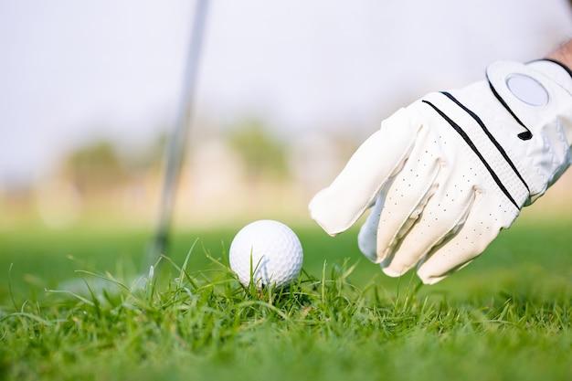 Mão colocando a bola de golfe no tee com o taco no campo de golfe na grama verde