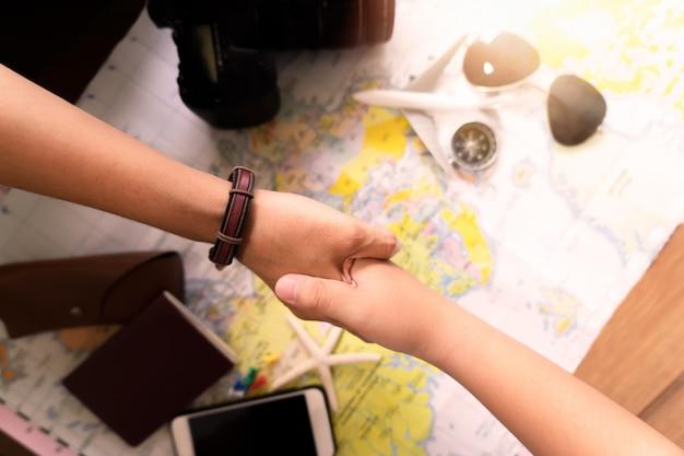 Mão, com, acessórios, para, viagem