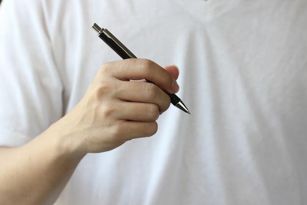 Mão, com, caneta, fundo