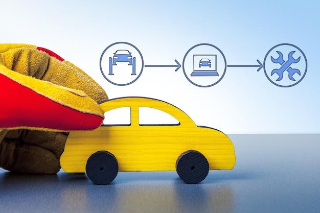 Mão com carro. serviço de carro, reparo, diagnóstico, conceito de manutenção.
