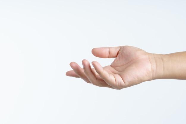 Mão com dando ou compartilhando o gesto
