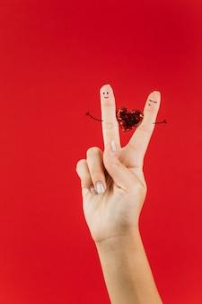 Mão, com, dedo, arte, par