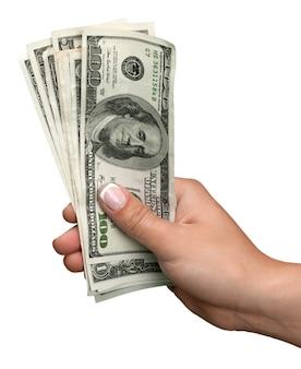 Mão com dólares em fundo branco
