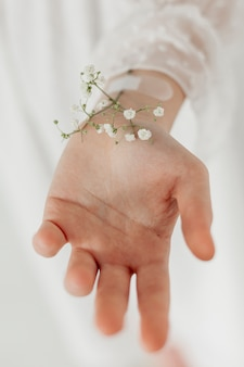 Mão com flores da primavera close-up