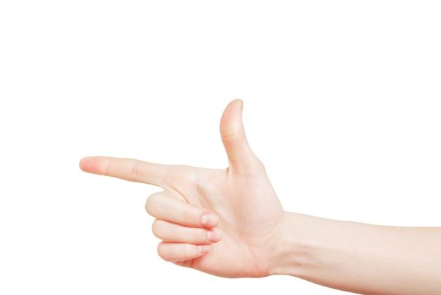 Mão com gesto de arma isolada