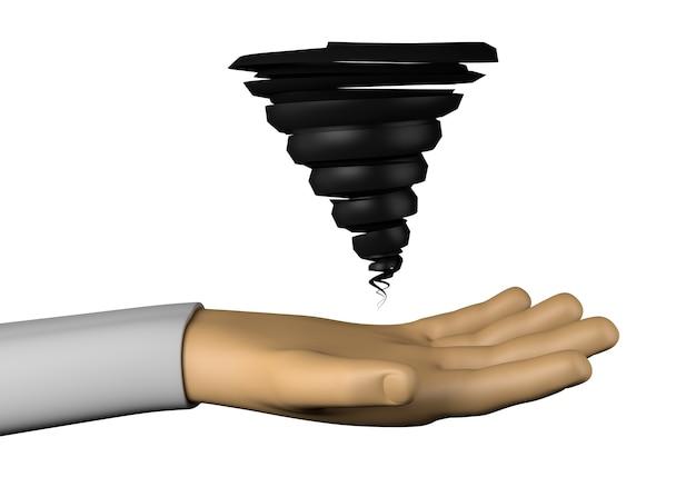Mão com o furacão. ilustração 3d.
