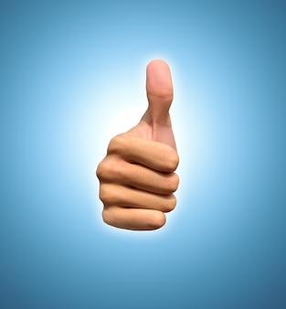 Mão com o polegar para cima, vista de frente. isolado em fundo azul