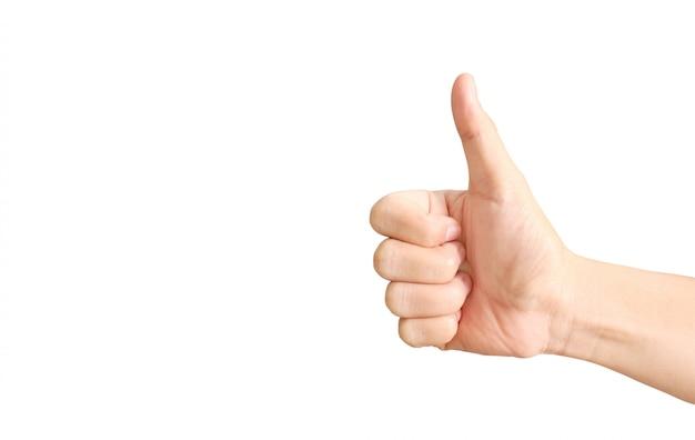 Mão com o polegar para cima