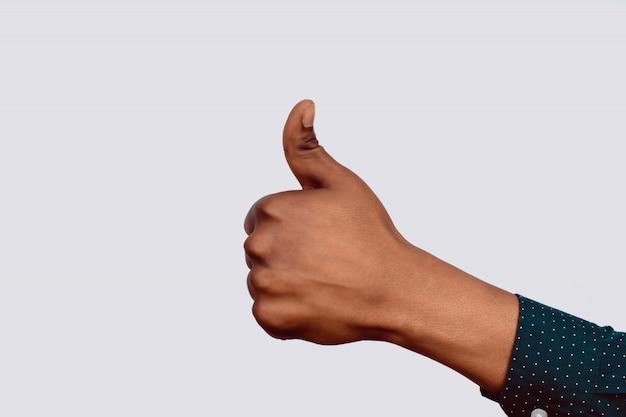 Mão, com, polegares cima