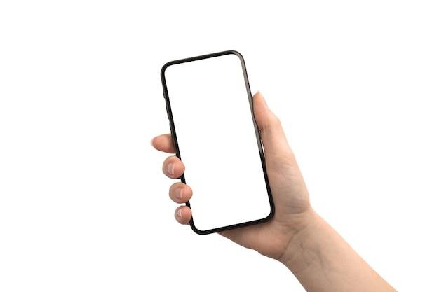 Mão com tela de maquete de telefone celular isolada em uma foto de fundo branco