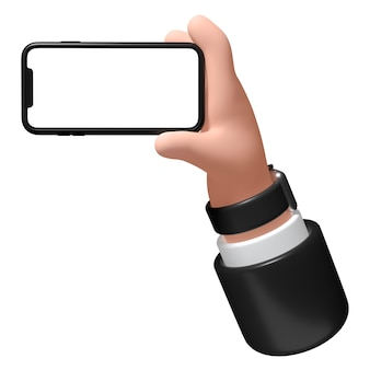 Mão com um smartphone em um fundo branco ilustração 3d empresário tem um telefone na mão