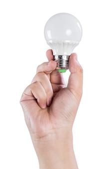 Mão com uma lâmpada
