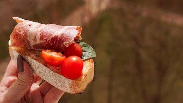 Mão da mulher com bruschetta de tomate cereja e aperitivo de vinho italiano