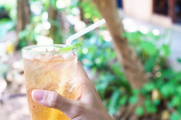 Mão da mulher que guarda o chá do crisântemo do amarelo do gelo com pastilha de hortelã verde na natureza.