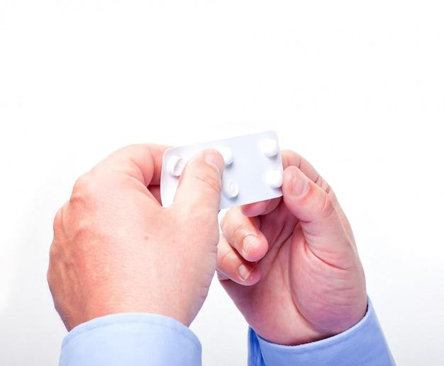 Mão, dar, pílulas