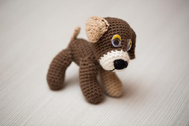 Mão de cachorro tricotada em mesa de madeira