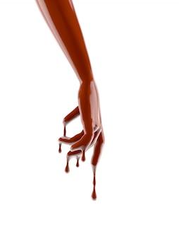 Mão de chocolate splash. imagem 3d, rendição 3d.