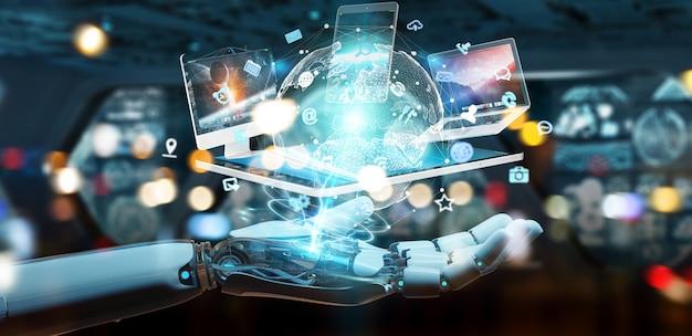 Mão de ciborgue branco conectando dispositivos juntos