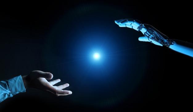 Mão de ciborgue branco prestes a tocar a mão humana renderização em 3d
