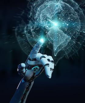 Mão de ciborgue branco usando a interface do planeta terra