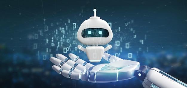 Mão de ciborgue segurando chatbot com código binário