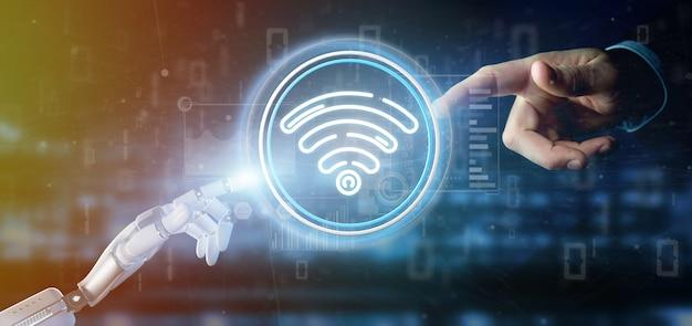 Mão de ciborgue segurando o ícone de wi-fi com estatísticas e código binário