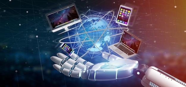 Mão de ciborgue segurando um computador e dispositivos exibidos em uma interface futurista com rede internacional