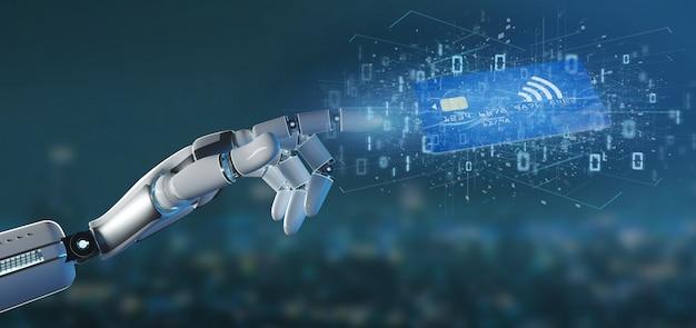 Mão de ciborgue segurando um conceito de pagamento de cartão de crédito sem contato