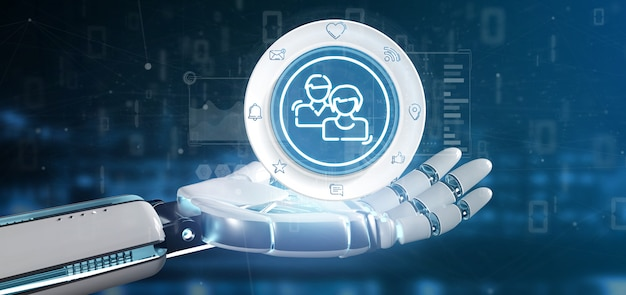 Mão de ciborgue segurando um ícone de contato de rede de mídia social