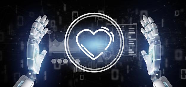Mão de ciborgue segurando um ícone de coração rodeado por dados