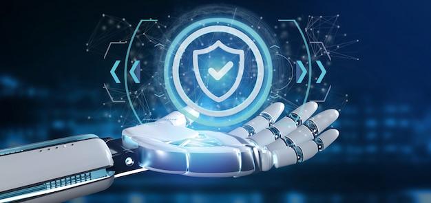 Mão de ciborgue segurando um ícone de segurança de tecnologia em um círculo