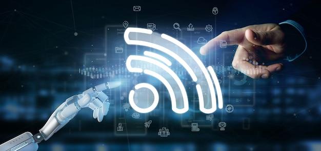 Mão de ciborgue segurando um ícone de wi-fi com dados ao redor