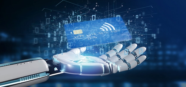 Mão de ciborgue segurando um pagamento de cartão de crédito sem contato
