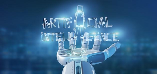 Mão de ciborgue segurando um robô de inteligência artificial feito de luz