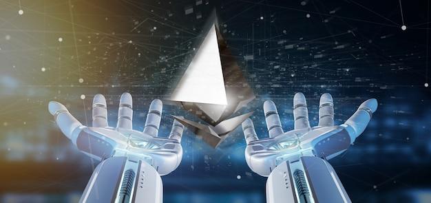 Mão de ciborgue segurando um sinal de moeda cripto ethereum voando em torno de uma conexão de rede