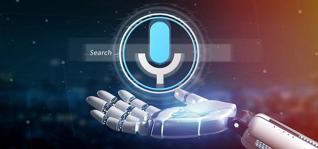 Mão de ciborgue segurando um sistema de pesquisa ocal com renderização de botão e ícone 3d
