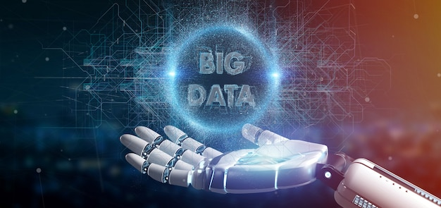 Mão de ciborgue segurando um título de big data