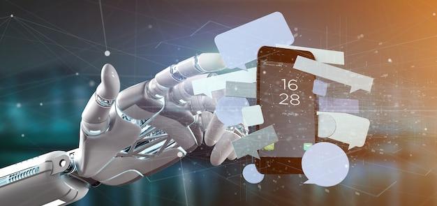 Mão de ciborgue segurando uma mensagens bolhas em torno de um smartphone
