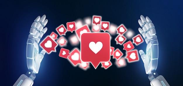 Mão de ciborgue segurando uma notificação como em uma mídia social renderização em 3d