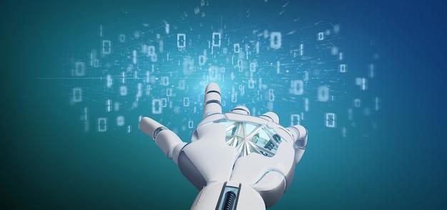 Mão de ciborgue segurando uma nuvem binária de dados