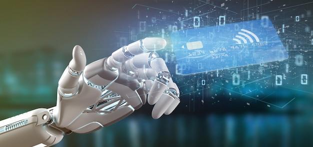 Mão de ciborgue segurando uma renderização 3d conceito de pagamento de cartão de crédito sem contato