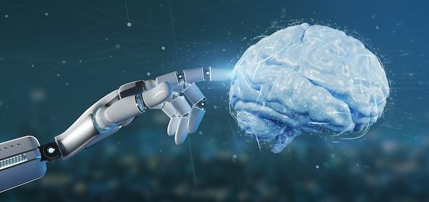 Mão de ciborgue segurando uma renderização 3d de cérebro artificial