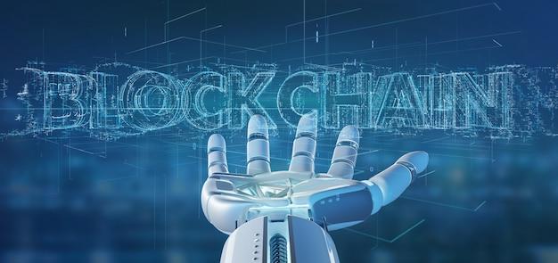 Mão de ciborgue segurando uma renderização 3d de título de blockchain